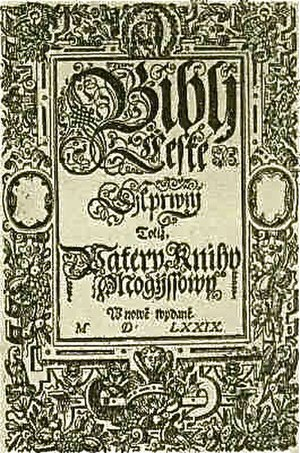 Bible of Kralice - Bible of Kralice, title page, vol. 1.