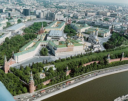 The Moscow Kremlin, which Stalin moved into in 1918 Kremlin birds eye view-1.jpg