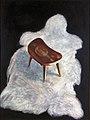 Krukje op schaapswillen kleedje, een schilderij van Cornelia Vrolijk.jpg