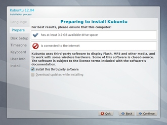 Wizard (software) - Image: Kubuntu 12.04 setup, step 2 (Prepare)