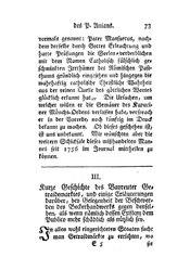 Kurze Geschichte des Bayreuter Getraidemarktes, und einige Erläuterungen darüber, bey Gelegenheit der Beschwerden des Beckerhandwerks gegen denselben, als wenn nämlich dessen Existenz dem Publico mehr schädlich als nützlich sey, S. 73-88