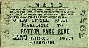 Harborne Railway - LMS Harborne to Rotton Park Road third class ticket
