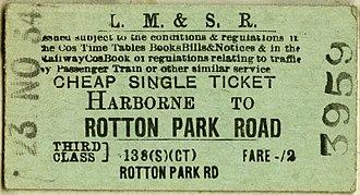 Harborne Railway - LMS Harborne to Rotton Park Road third class ticket