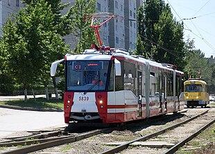 Трамвайный вагон 71-154 в Волгограде.