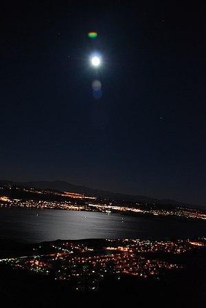 Moonlight over Lake Elsinore from Santa Ana Mo...