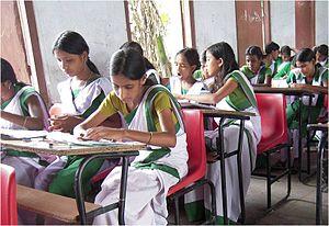 Education in Assam - School children in the classroom, Lakhiganj High School, Assam