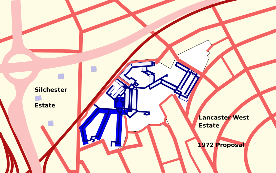 Lancaster West Site with walkways-1972