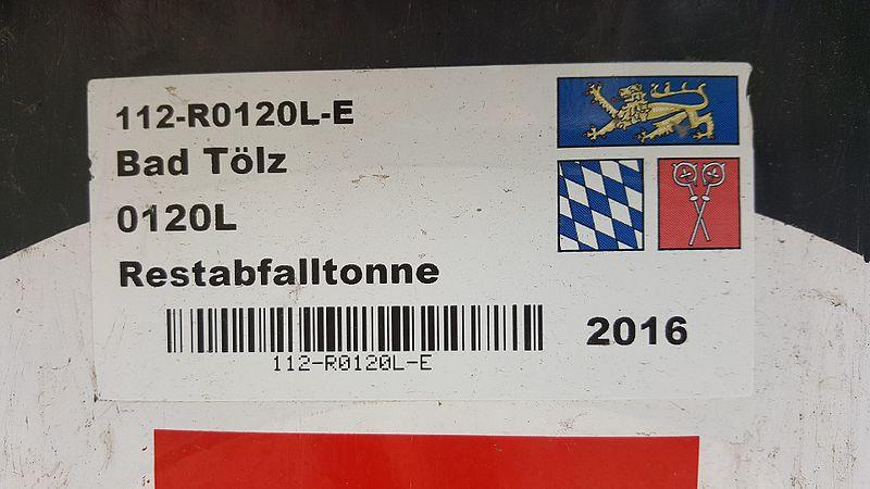 File:Landkreis Bad Tölz-Wolfratshausen — Aufkleber mit Barcode (Restabfalltonne).jpg