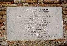 Lapide a memoria della terra recanatese portata sulla tomba di Leopardi a Piedigrotta
