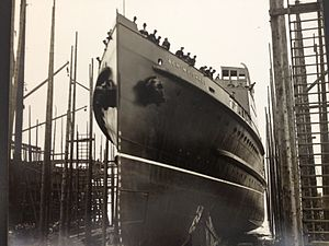 SS Ben-my-Chree (1927) - Ben-my-Chree is launched at Birkenhead, 5 April 1927.