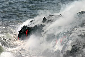 Hyaloclastite - Pahoehoe lava enters the Pacific at Hawaii Volcanoes National Park,the Big Island of Hawaii
