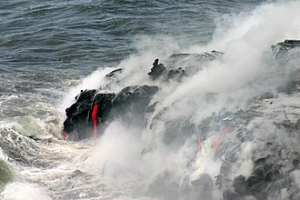 Hyaloclastite - Pahoehoe lava enters the Pacific at Hawaii Volcanoes National Park, the Big Island of Hawaii