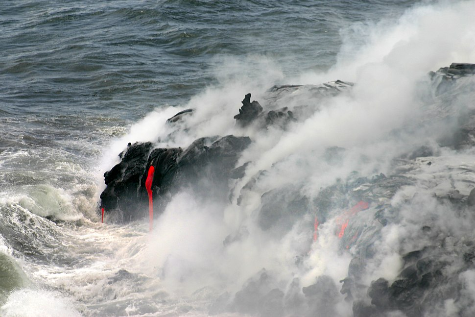 Lava enters pacific
