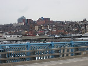Lower & Central Lawrenceville from the 31st Street Bridge. Children's Hospital is the dominant structure in the centre.