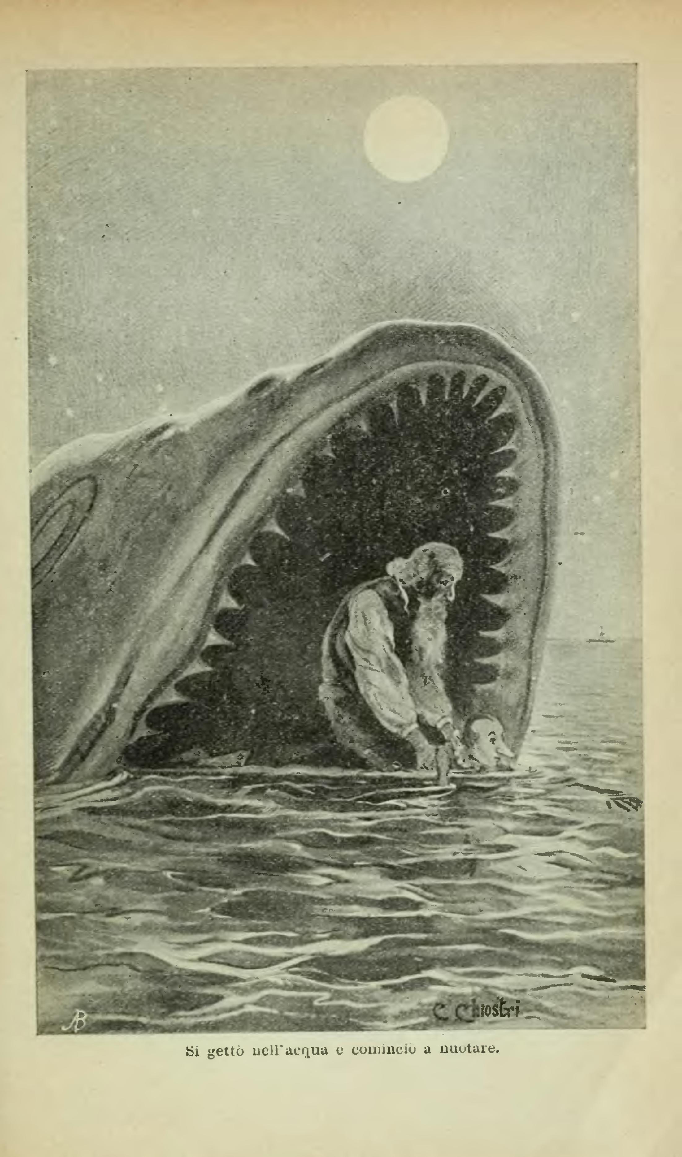 si gett� nell'acqua e cominci� a nuotare - Carlo Chiostri 1902