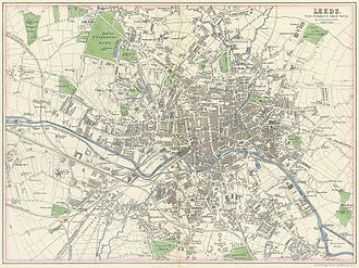 Woodhouse Moor - 1866 Leeds Map showing Woodhouse Moor top left