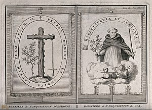 Goa Inquisition - Left: banner of the Spanish Inquisition; Right: banner of the Inquisition in Goa, by Bernard Picart.
