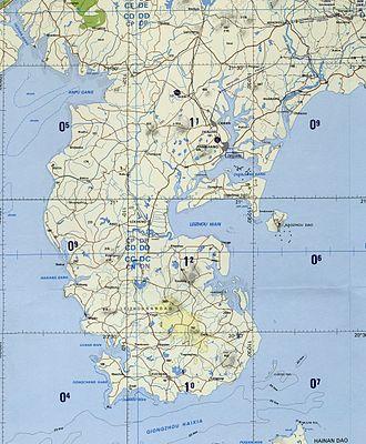 Leizhou Peninsula - Topographical map