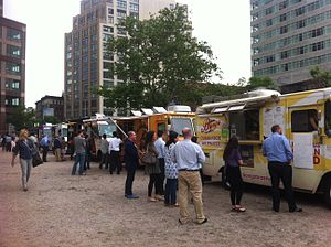 Food truck rally - Food trucks gather at LentSpace in New York City in 2012
