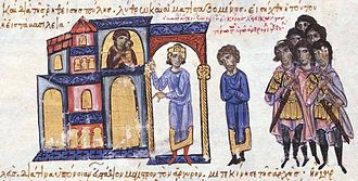 Constantine Doukas (usurper) - Miniature from the Madrid Skylitzes, showing Leo admonishing Constantine not to attempt to usurp the throne
