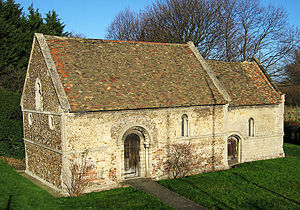 Newmarket Road, Cambridge - The Leper Chapel, dating from 1125, north of Newmarket Road.