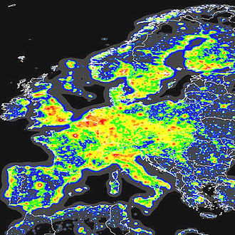 Skyglow - A map showing the extent of skyglow over Europe