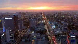 Lima's skyline during a sunset.