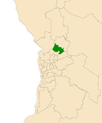 Electoral district of Little Para - Electoral district of Little Para (green) in the Greater Adelaide area