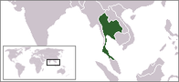 A map showing the location of Thailand