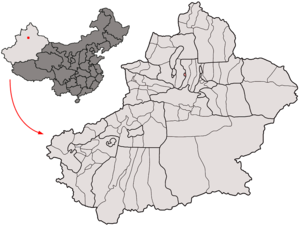 Location of Shihezi within Xinjiang (China).png