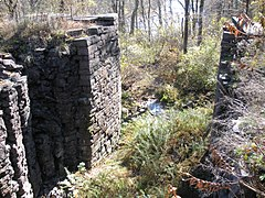 Stone walls, with vegetation between them