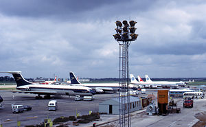 History of Heathrow Airport - Heathrow in 1965. Nearest the camera are two BOAC aircraft – a Vickers VC10 (with the high tail) and a Boeing 707.