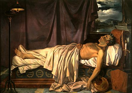 Lord Byron on His Deathbed, by Joseph Denis Odevaere (c. 1826). Oil on canvas, 166 x 234.5 cm Groeningemuseum, Bruges. (Note the sheet covering his misshapen right foot.) Lord Byron on his Death-bed c. 1826.jpg