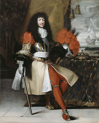 Epaulette - Louis XIV wearing shoulder ribbons, an early type of epaulette of the late 17th century