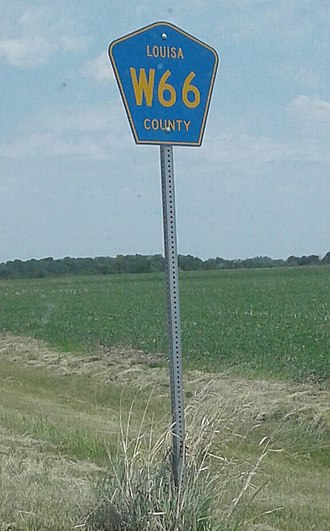 Iowa Primary Highway System - Typical signage used on a county highway in Iowa, as seen along CR W66 in Louisa County south of Cotter