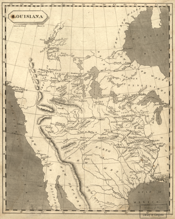 The Louisiana Territory and Texas in 1804 Louisiana1804 loc filename ct000654.png