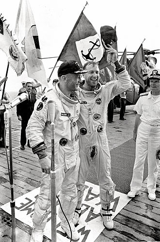 Jim Lovell - Buzz Aldrin and Lovell on the deck of their recovery ship after Gemini 12.