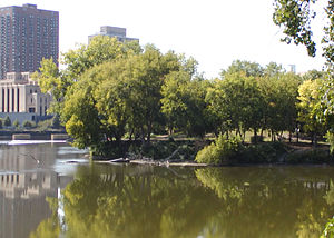 Nicollet Island - Lower end of Nicollet Island in 2006