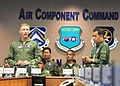 Lt. Gen. Jeffrey A. Remington and his deputy, Korean Air Force Lt. Gen. Lee Yeong Man gave opening remarks during the annual Air Boss Conference June 15, 2011 at Osan Air Base, South Korea.JPG