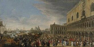 César d'Estrées - Reception of cardinal César d'Estrées in Venice. Painting by Luca Carlevaris (1701).