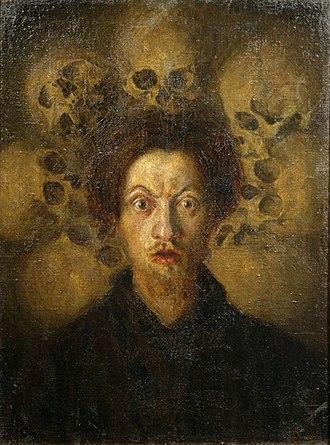 Luigi Russolo - Image: Luigi Russolo self portrait with skulls 1909
