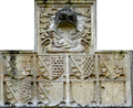 LuttrellHeraldicPanel Circa1500 Gatehouse DunsterCastle Somerset.PNG