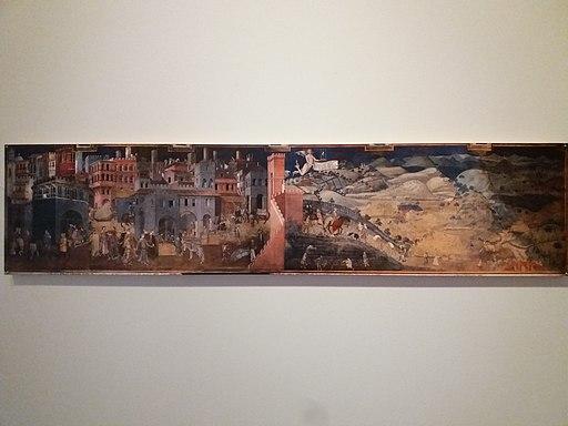Lyon 3e - Bibliothèque municipale de Lyon - Tous à table - Ambrozio Lorenzetti, Allégorie des effets du bon et du mauvais gouvernement à la ville et à la campagne