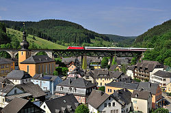 DB train passing Trogenbach viaduct