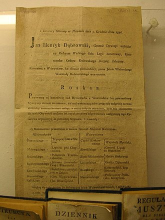 Jan Henryk Dąbrowski - Dąbrowski's order of 1806, introducing a new Order of Battle for the Polish voivodeships