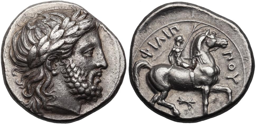 Macedon Philip II AR Tetradrachm Thunderbolt Control Mark, LeRider 234 Plate Coin, 1965 Thessalonica Hoard.xcf