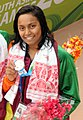 Machiko Raheem (SRI LANKA) won Silver Medal in Women's 100m Freestyle Swimming, at the 12th South Asian Games-2016, in Guwahati (cropped).jpg