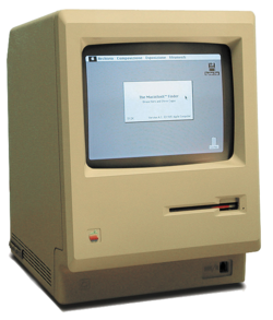 "The first Macintosh computer, introduced in 1984, upgraded to a 512K ""Fat Mac"""
