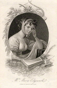 Oval inset half-length portrait of woman in flowing dress with a band of cloth wrapped around her head. Portrait it set against a backdrop of books, papers, pen, laurel, and a harp.