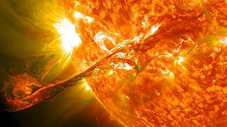 Solar flare - On August 31, 2012 a long prominence/filament of solar material that had been hovering in the Sun's atmosphere, the corona, erupted out into space at 4:36 p.m. EDT.  Seen here from the Solar Dynamics Observatory, the flare caused an aurora on Earth on September 3.